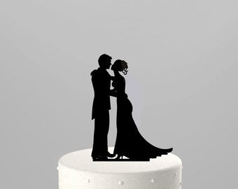 SALE! Next Day Shipping - Wedding Cake Topper Silhouette Couple, BLACK Acrylic Cake Topper [CT43]