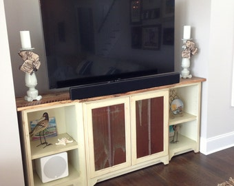 shabby chic entertainment center etsy. Black Bedroom Furniture Sets. Home Design Ideas