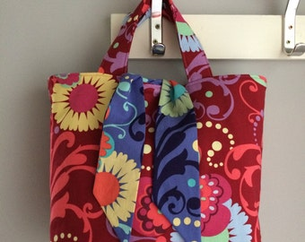 Amy Butler Paradise Garden reversible standard sized tote.