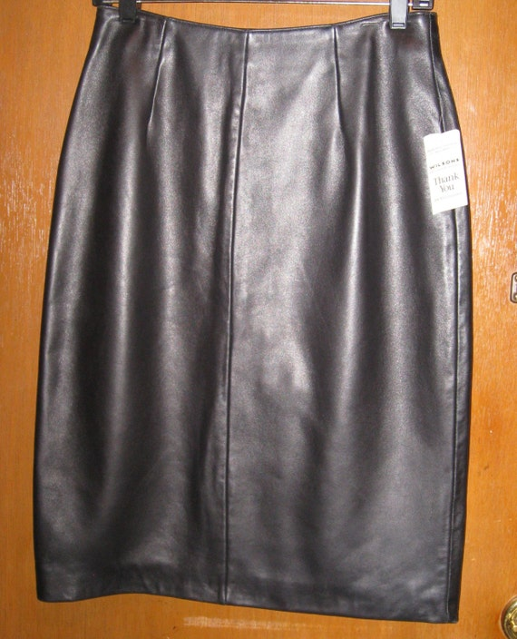 black leather pencil skirt high waisted fully lined