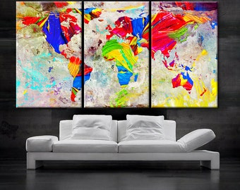 "LARGE 30""x 60"" 3 Panels Art Canvas Print Oil Watercolor Mixed Texture Original World Map pastels Wall Home decor interior(framed 1.5"" depth)"