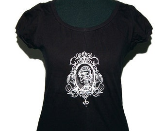 Gothic shirt - Cameo Lady skull - Gr. M - Black/White