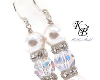 Bridal Earrings, Bridal Jewelry, Crystal Earrings, Wedding Jewelry, Pearl and Crystal Earrings, Pearl Bridal Jewelry, Bridal Shower Gift