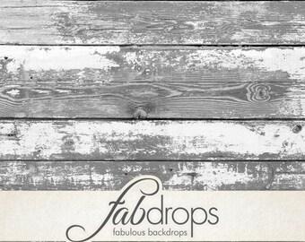 White Wood Photo Backdrop / Photography Backdrop / White Weathered Wood Floor / Floordrop / Photo Prop / Newborn Prop / White Wood (FD0575)