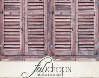 Vintage Wood Shutters Fold Display Backdrop Shutters - Red (FD6708)