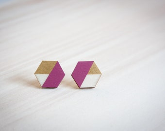 Gold & orchid hexagonal wooden stud earrings, hexagon studs, post earrings, geometric studs, hand painted modern jewelry, minimal studs