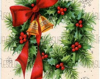 Seasons Greetings Pine Holly Wreath Christmas Card #375 Digital Download