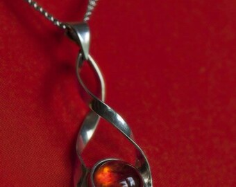 Silver Amber Spiral Pendant on a Chain