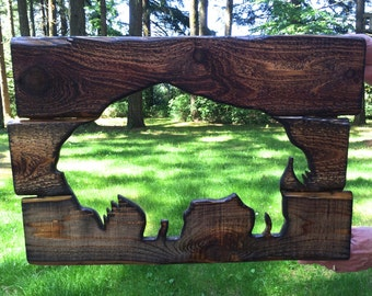 Rustic custom made bison wood working art
