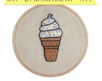 Soft Serve Sprinkle DIY Embroidery Kit