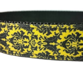 "Yellow Damask Nylon Dog Collar | 1"" Width Only 