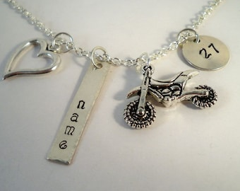 Personalized Motocross, Dirt Bike, Motorcycle, ATV, Hand Stamped, Customized Charm Necklaces