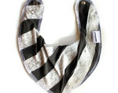 Scandinavian Style Bandana Bib for Baby Toddler -  Color: OLIVE STRIPES