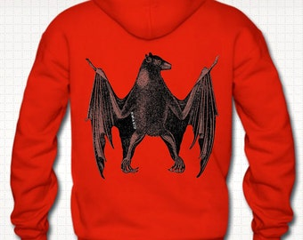 Fruit Bat Altered Vintage Art Illustrated Mens Hoodie With Backprint *Black, Grey, Burgundy Or Red*