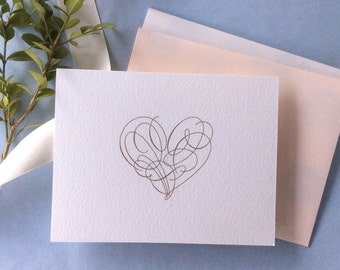 Valentine Love Note with Calligraphic Heart (Pale Pink or White)