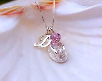 Flip flop necklace, beach theme necklace, beach themed wedding, Sandle necklace