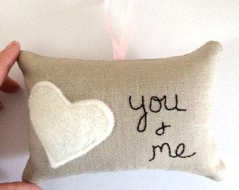 you and me, mini heart pillow, door hanger