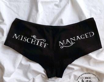 Harry Potter Mischief Managed Hip Hugger Undies glow-in-the-dark geeky panties
