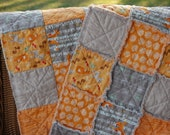 Baby Rag Quilt - Good Natured - Perfect Stroller Blanket Size - Orange & Gray, Woodland Animals, Foxes and Friends