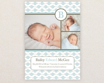 Boys Photo Birth Announcement. Baby Blue Pattern. I Customize, You Print.