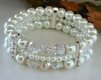 Swarovski Crystal and Pearl Cuff Bracelet