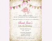 Ballet, ballerina, birthday invitation, pink, gold, glittter bunting.  Printable, DIY. Birthday, bridal shower, baby shower. Recital invite