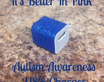 Blue Glitter Autism Awareness USB Wall Charger