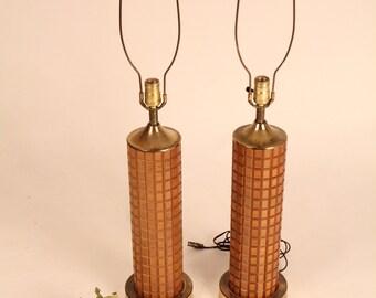 2 TEAK TABLE LAMP vintage mid century 1970 era