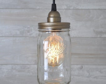 Mason Jar Pendant Light Aged Copper Quart Lamp Vintage Rustic