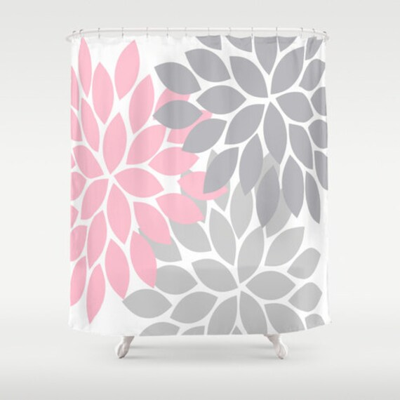 pink grey shower curtain. Pink Gray SHOWER CURTAIN Custom MONOGRAM Flower By TRMDesignShop Grey Shower Curtain  Home Design Mannahatta us
