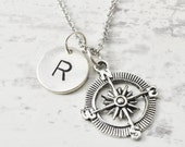 Compass necklace - Hand stamped initial jewelry - Enjoy the journey -  Inspirational jewelry - Encouragement jewelry - Graduation gift