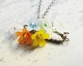 Lucite flower charm necklace - Butterfly garden - Inspirational - Motivational - Treasury item
