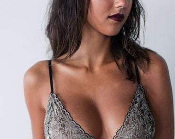 Handmade Gold French Lace Bralette