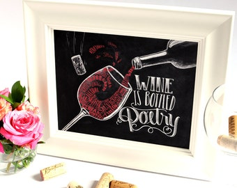 Wine Art, Chalkboard Art, Wine Lover, Wine Artwork, Chalkboard Sign, Wine Sign, Wine Print, Wine Decor, Wine Is Bottled Poetry, Kitchen Art