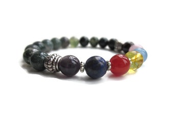 Chakra bracelet, mens bracelet, jewellery uk, gemstone bracelet