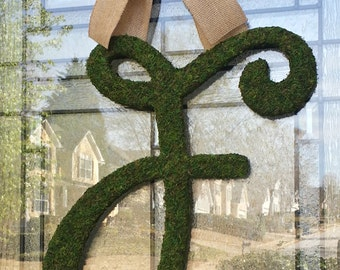 "Moss Letter 18"",Script Font Letter,Front Door Moss Initial Wreath,Church Door Letter,Rustic Wedding,Barn Wedding Decoration,Moss Monogram"