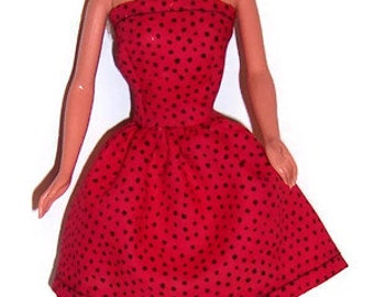 Fshion Doll Clothes-Red/Black Polka Dot Strapless Party Dress