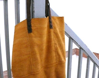 Weaving bag Sorr and natural dye, yellow or ocher color for summer