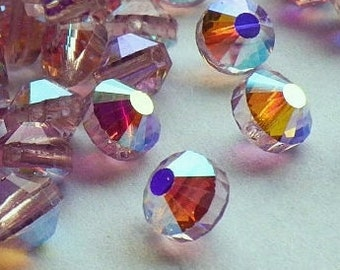 20 Very Rare Vintage Swarovski Crystal Beads, Article 349, 6mm Light Amethyst With Aurore Boreale Finish