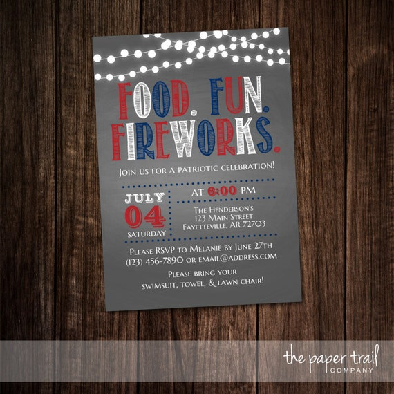 4th Of July Invitation Fourth Of July Party BBQ Cookout