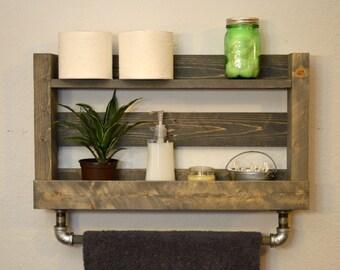 Luxury Rustic Pallet Towel Rack Shelf Bathroom By ReformedByLeviathan