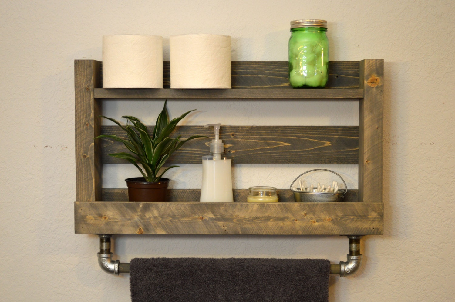 Bathroom Shelves Wooden : Creative Gray Bathroom Shelves Wooden ...