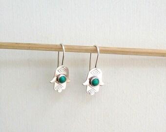 Small Hamsa earrings , Eilat stone , Handmade Hamsa Earrings , Hand Earrings , Israeli stone , Hamsa jewelry