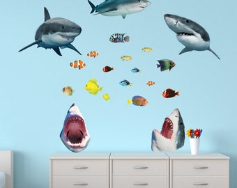 Shark Wall Decal, Ocean Stickers, Shark Wall Stickers (5_Shark_OTHER Large Size)