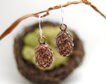Tiny pine cone earrings *nature-inspired jewelry*