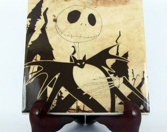 The Nightmare before Christmas collectible Ceramic Tile - Handmade in Italy - Jack Skellington Tim Burton  mod. 89