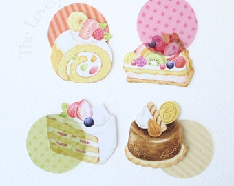 Japanese Cakes & Desserts Flake Seal Stickers (8 Designs) - sticker flakes, seals, clear transparent circles, sweet treats, pie pudding
