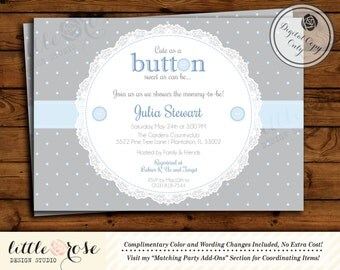 Cute as a Button Baby Shower Invitation - Baby Shower Invite - Boy Baby Shower - First Birthday Invite - Button Baby Shower - Printable