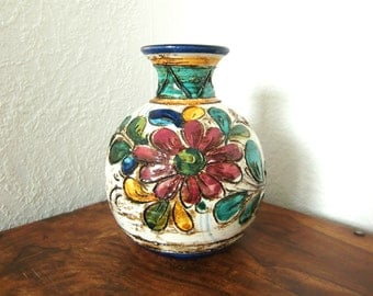Vintage Vase with Hand-Painted Flowers
