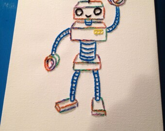 Hand Embroidered Set Of Robots on Canvas: Children's Art